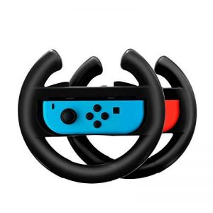 Nintendo Switch Joy-Con Grips Lammcou Volants pour Joy-Cons de Nintendo Switch pour Mario Kart 8 Deluxe, Gear Club Unlimited, Cars 3 Driven To Win, Team Sonic Racing, Just Dance 2018, Fifa 18, 2 x Contrôleur de Voiture de Course Accessoire de Roue à Quai image 0 produit