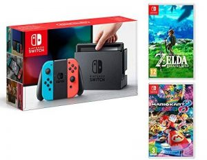 Nintendo Switch Rouge/Bleu Néon 32Go Pack + Mario Kart 8 Deluxe + Zelda: Breath of The Wild de la marque - Nintendo - image 0 produit